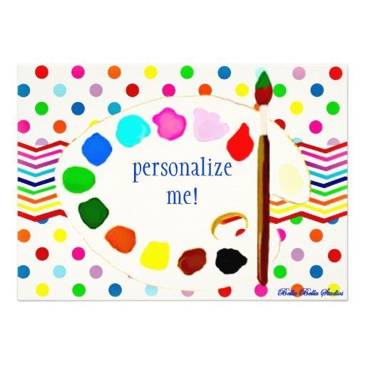 Happy Birthday Paint/Art Party Bella Bella Studios Custom Announcements