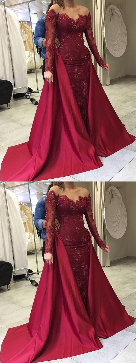 Burgundy mermaid prom dress modest beautiful lace long prom dress
