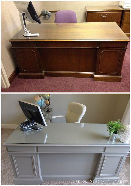 Office Desk Makeover Complete Meubles, Avant après et Bureau - Repeindre Un Meuble En Bois Vernis