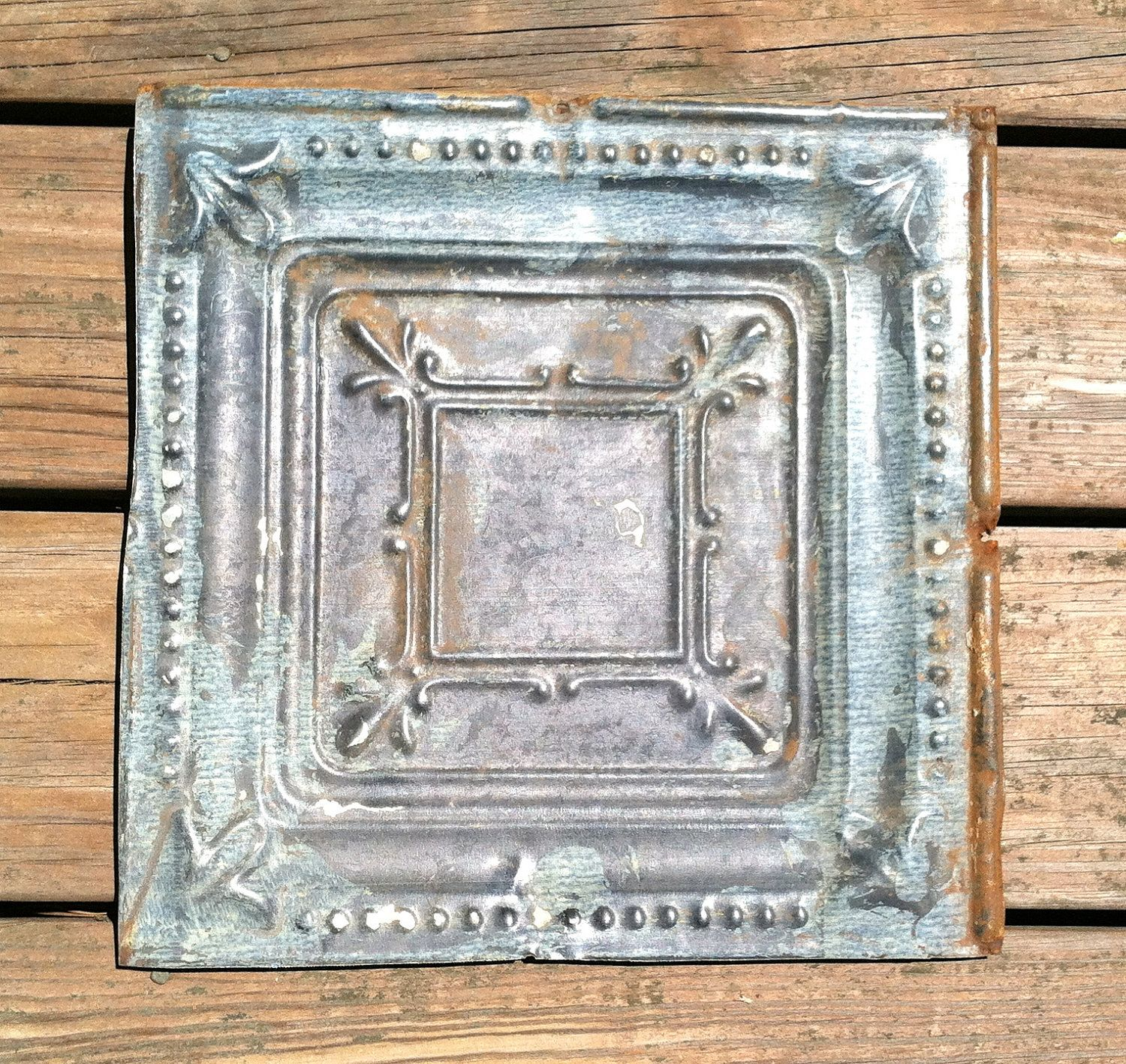 Vintage pressed tin ceiling tile 12in by 12in grade b 1300 via vintage pressed tin ceiling tile 12in by 12in grade b 1300 via etsy dailygadgetfo Image collections