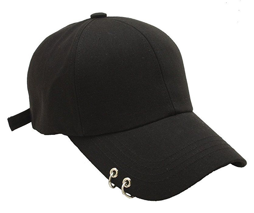 93549fbe122d45 Unisex Daily Style Baseball Caps Ring Stud Piercing Design Curved Brim Hat  (Black)