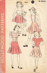 1940's Hollywood 449 ReversibleTwo Piece Dress Pattern Size 10