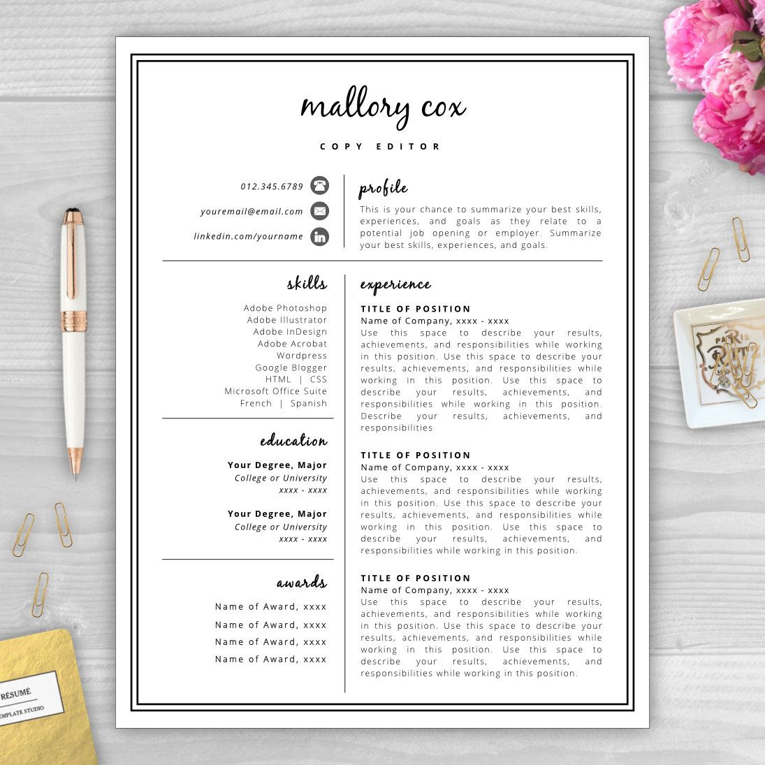 resume icons resume design resume template word resume cover letter ...
