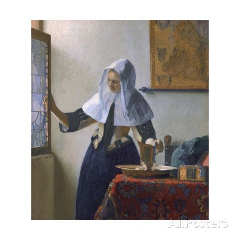 Young Woman with a Water Pitcher Giclée-Druck von Jan Vermeer - AllPosters.at