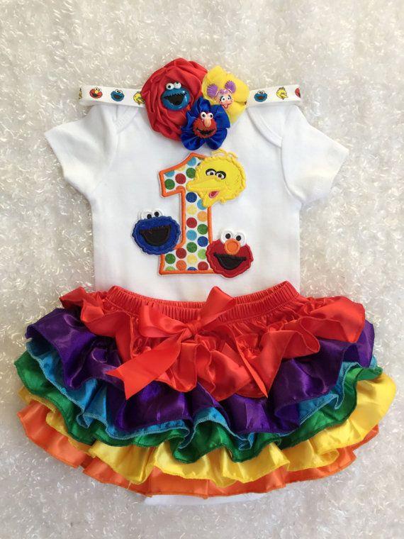 Sesame Street Friends First Birthday Outfit Big Bird Rainbow