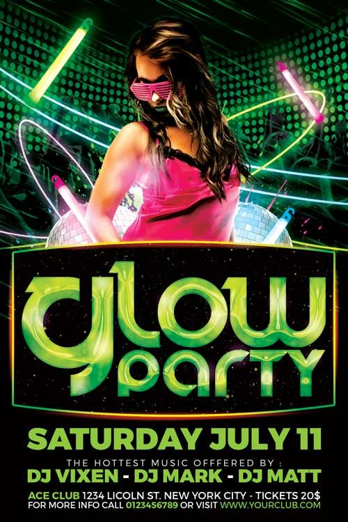 Glow Party Flyer Template - http\/\/xtremeflyers\/glow-party - party flyer
