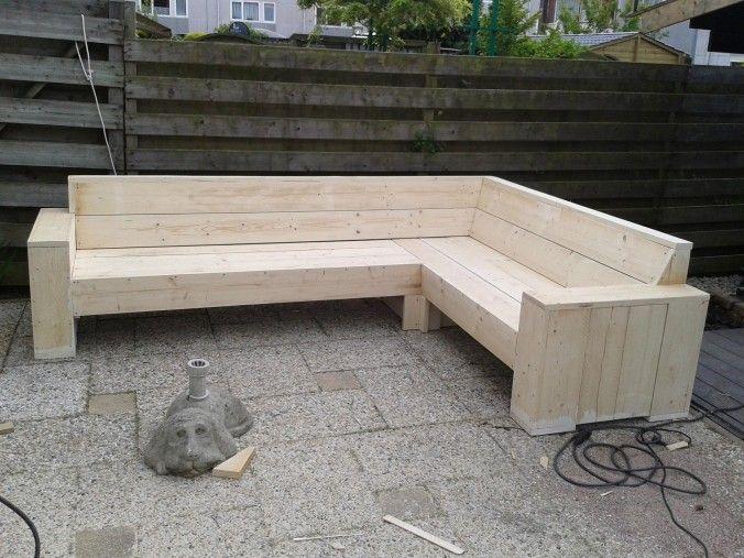 Download hier de bouwtekening van een hoekbank van steigerhout  Deze steigerhouten hoekbank kunt