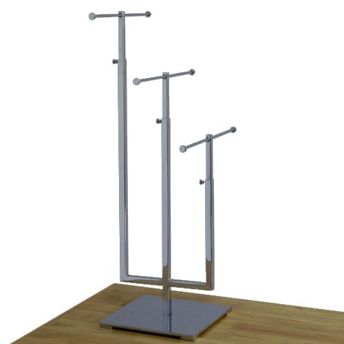 This Chrome Jewelry Stand is made from durable rectangular tubing, and  includes a weighted cloth base. Tiers are 2 apart from each other.