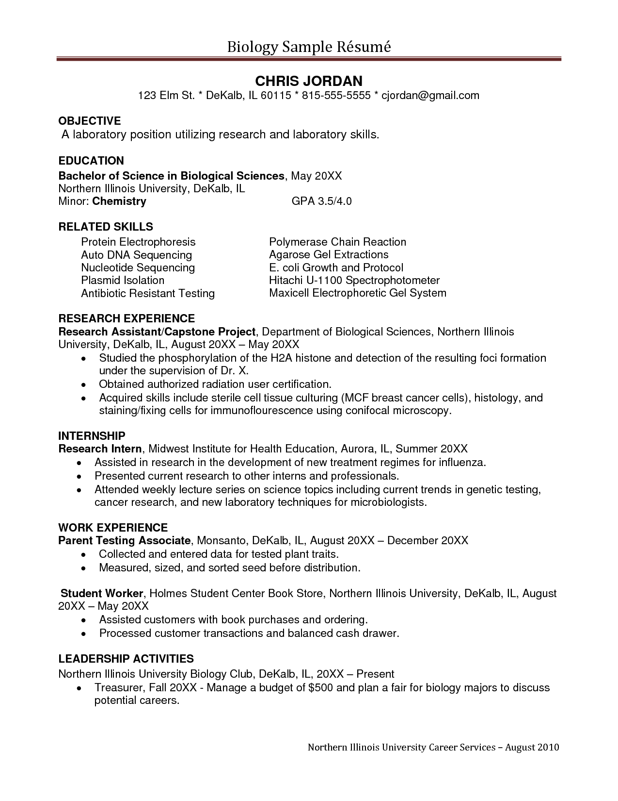 Biology Resume Template Sample Undergraduate Research Assistant Resume Sampleĺ