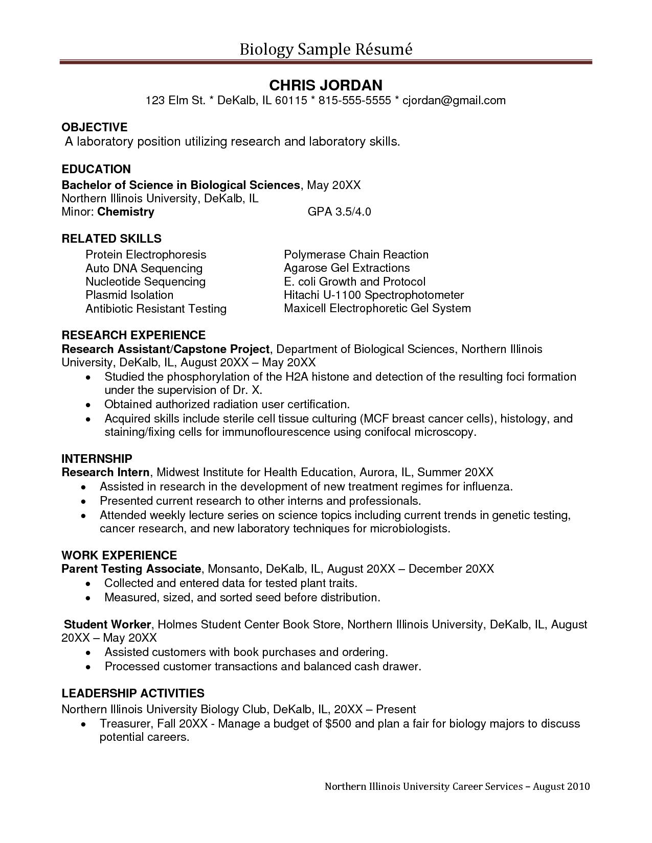 Sample Undergraduate Research Assistant Resume Sample