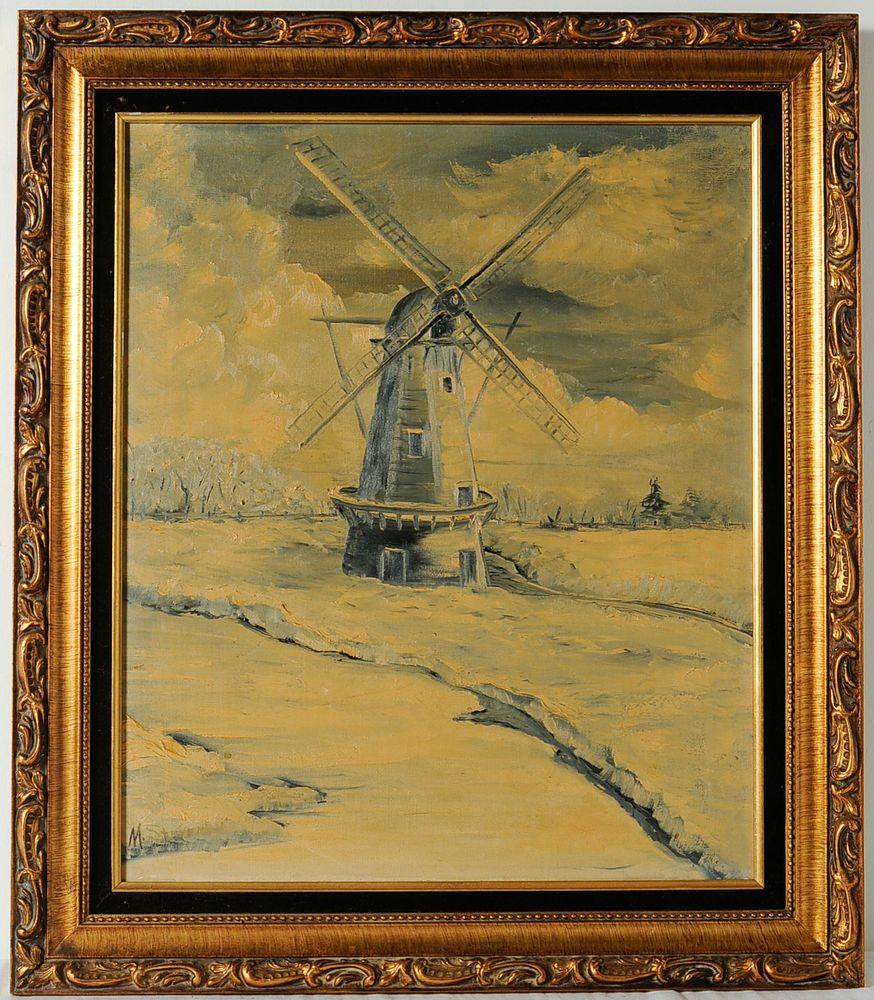 Vintage Windmill Dutch Landscape Oil Painting Signed