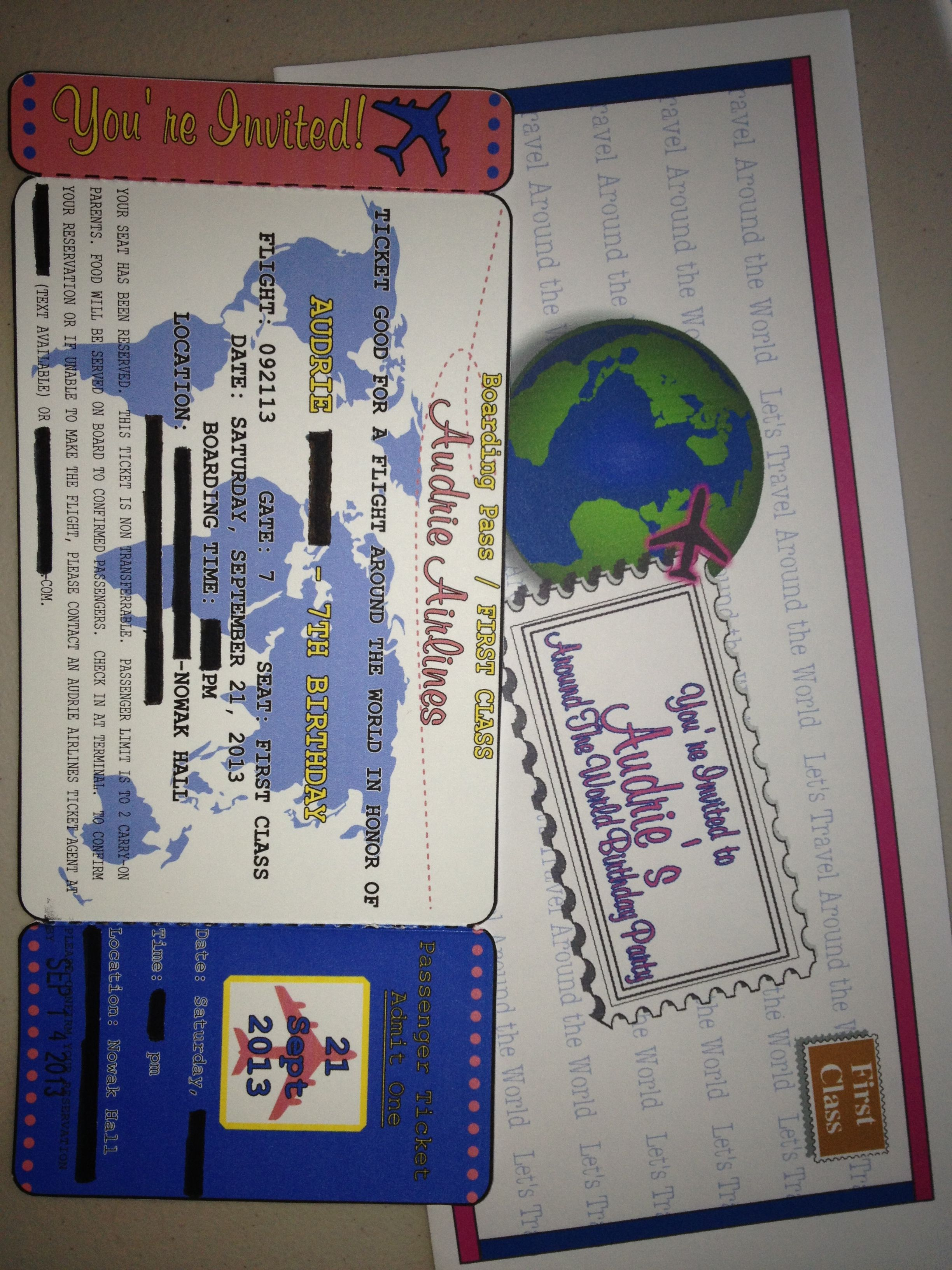 Around The World Dinner Party Ideas Part - 26: Around The World Party Invitation