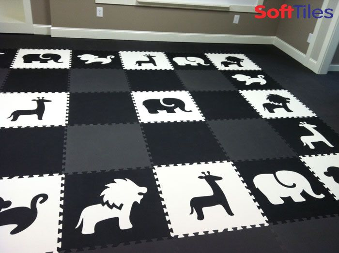Safari animals black and white children 39 s playroom floor for Mats for kids room