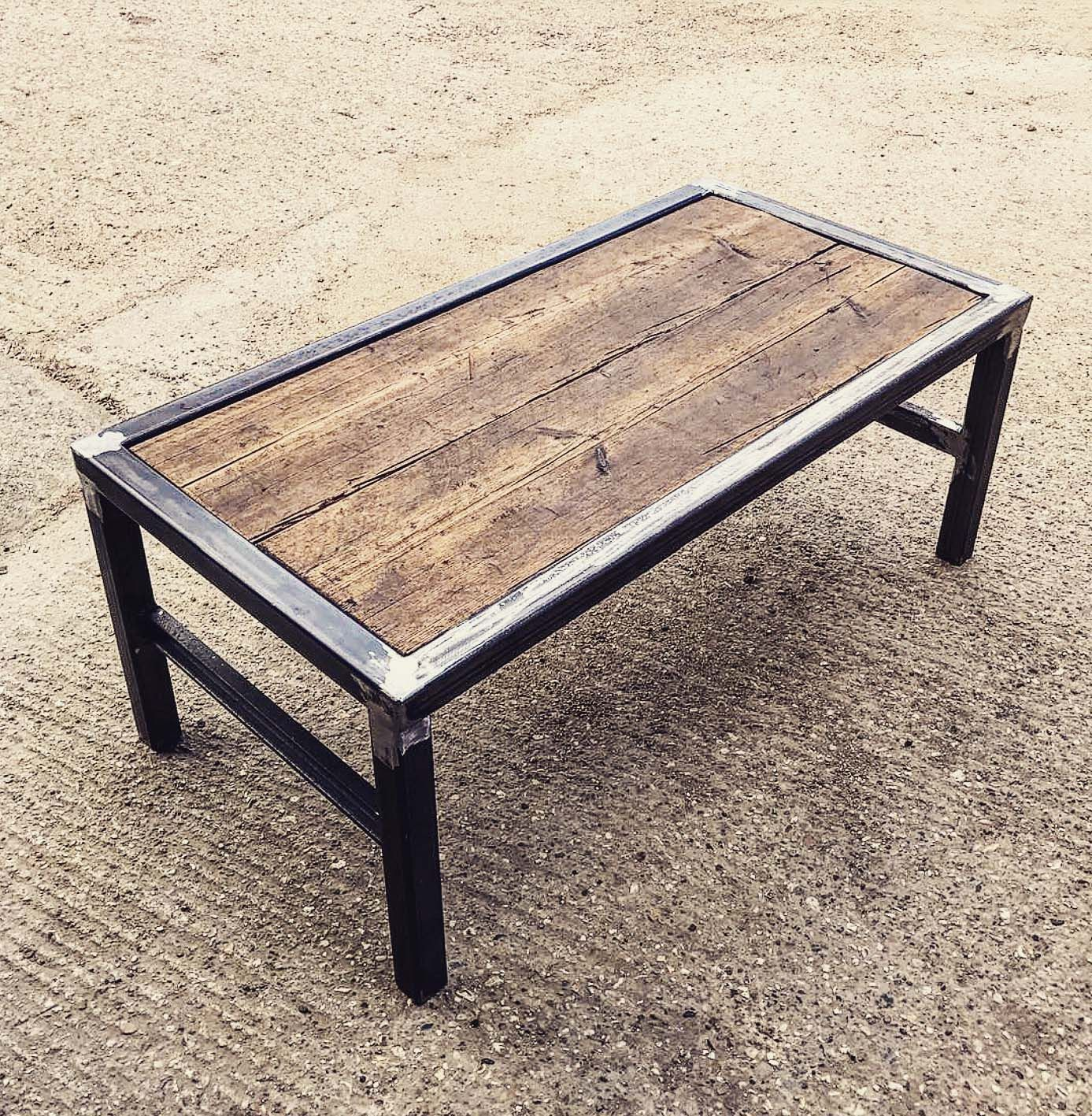 Steel Frame Coffee Table With Scaffold Board Top Insert Welded Furniture Coffee Table Welding Table