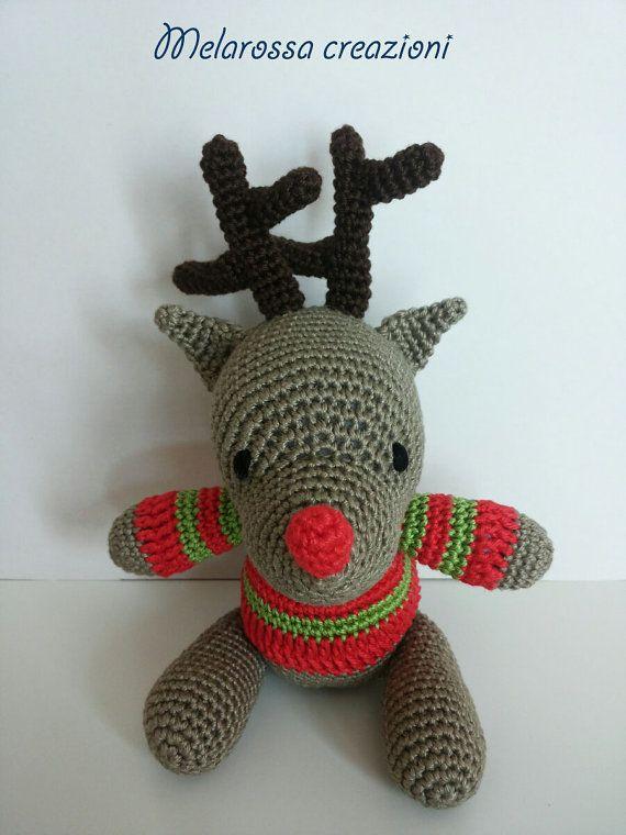 Renna natalizia amigurumi pupazzo di MelarossaCreazioni su Etsy