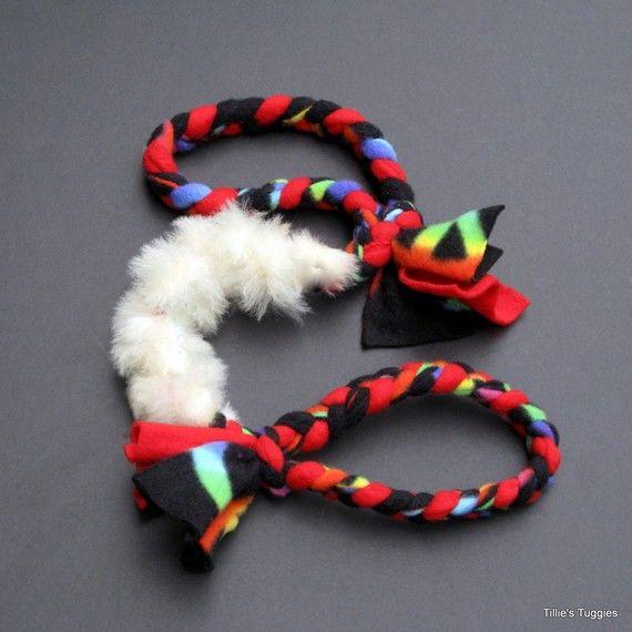 Dog Tug Toy Agility: Doublehandled Dog Tug Toy With Real Sheepskin By
