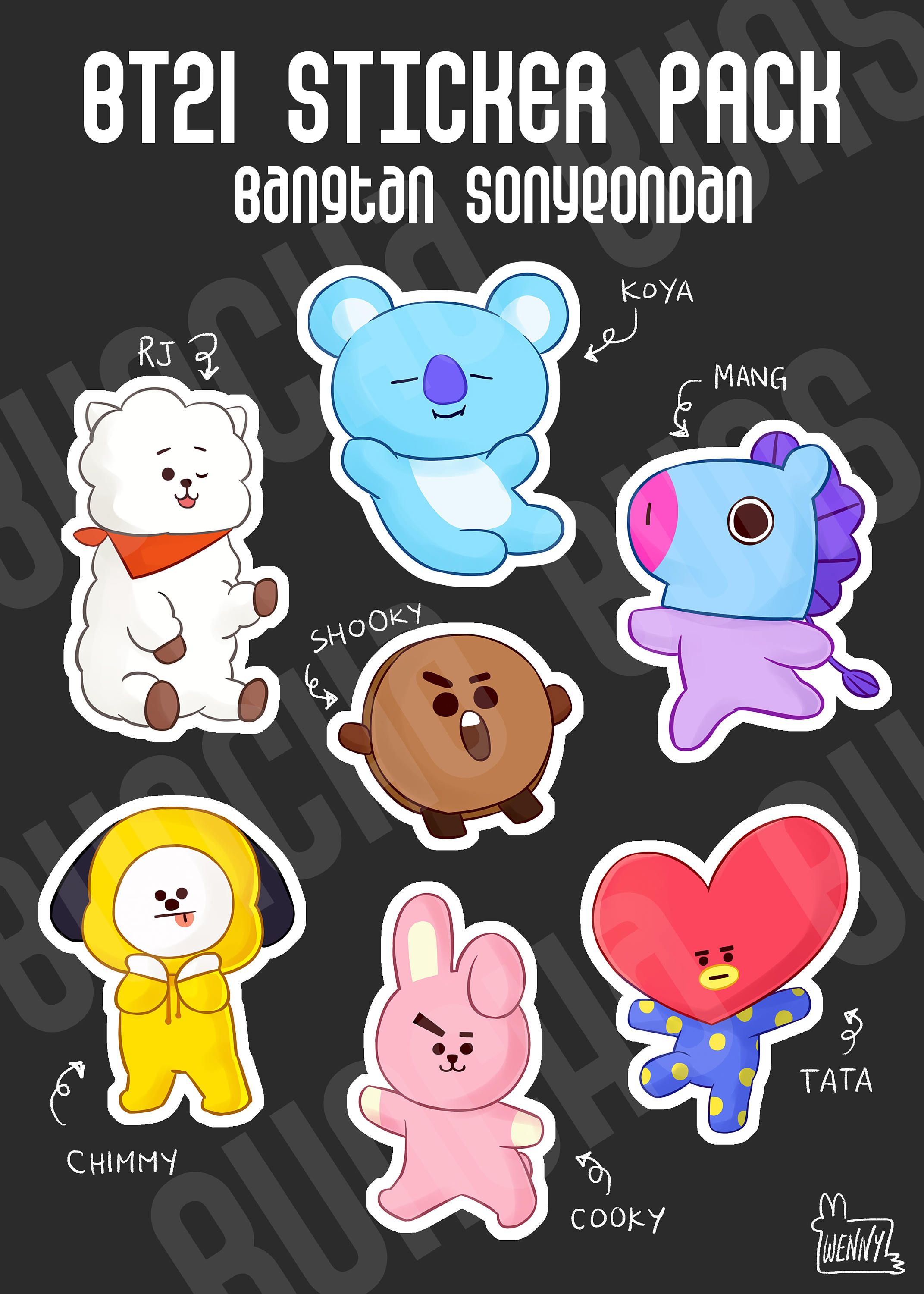 Pin By Ivanna Perez On Bts Bts Chibi Stickers Packs Stickers