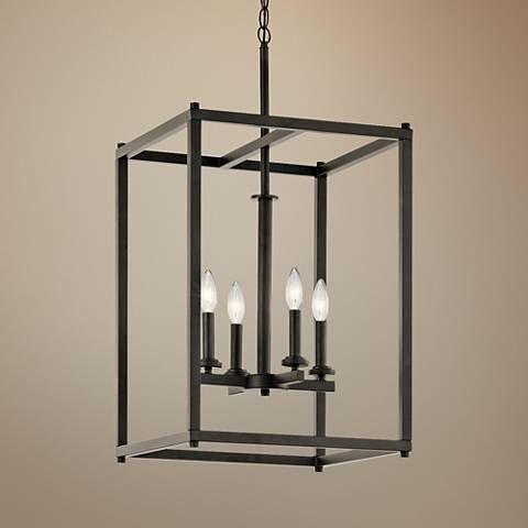Kichler crosby 16 wide olde bronze 4 light foyer pendant