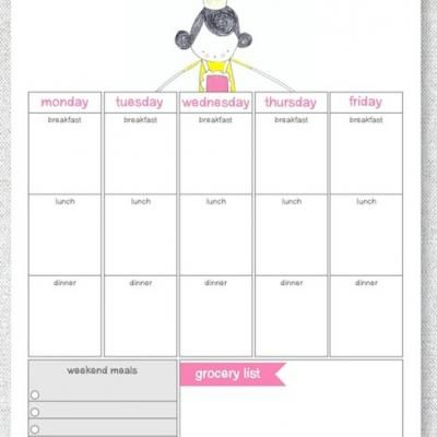 Printable Weekly Meal Calendar  Main Dishes    Meal