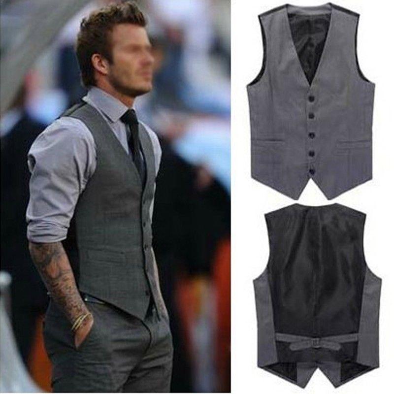 New Men's Slim Fit Casual Formal Dress Vest Suits Tops Gray Grey US XL-L