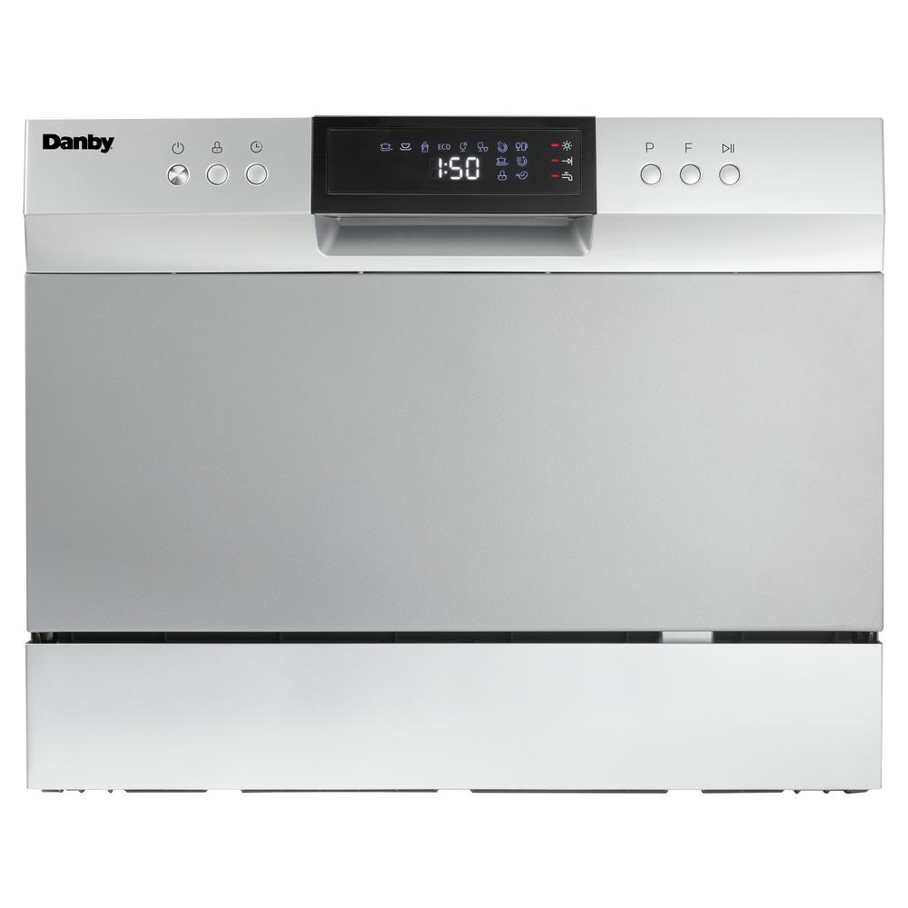 Danby 6 Place Setting Counter Top Dishwasher In Electronic Silver