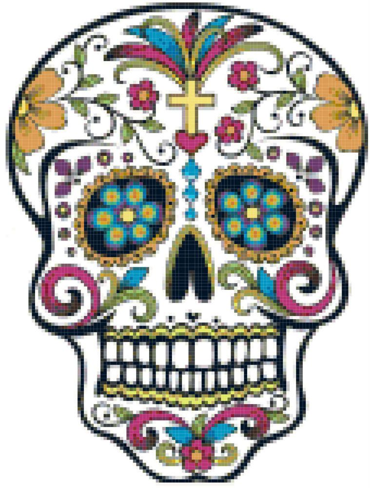 Sugar skull day of the dead counted cross stitch pattern chart sugar skull day of the dead counted cross stitch pattern chart design pronofoot35fo Images