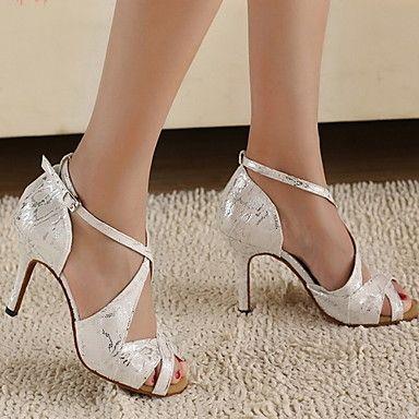 Tacón puntera abierta Criss Cross baile negro zapatos mujer personalizar zapatos de salón de baile mKYOe4