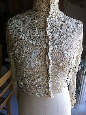 REMARQUABLE FRENCH EDWARDIAN BLOUSE IRISH LACE GUIMPE