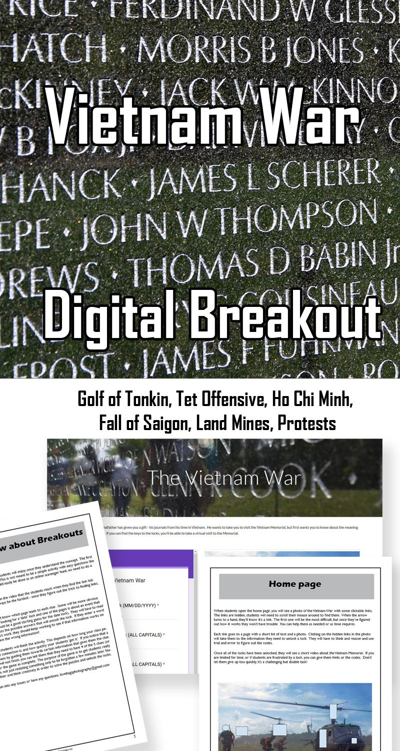 Breakout Games Are Fun But Setting Them Up Takes Time This Digital Breakout Is A Timesaver Gulf Of Tonkin Incident Social Studies Middle School Vietnam War