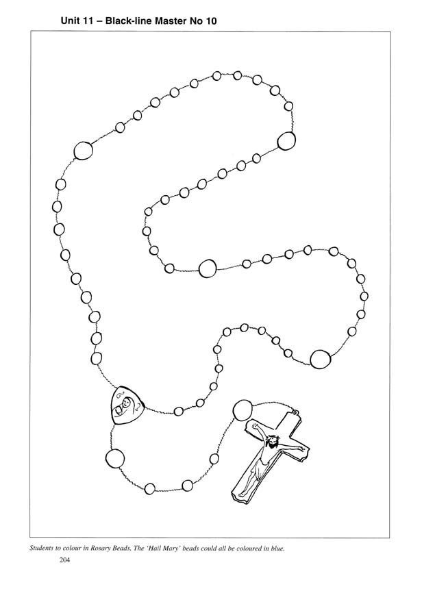 Rosary Picture To Color Rosary Coloring Sheet Hail Mary