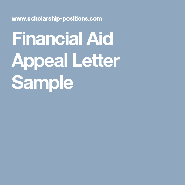 Financial Aid Appeal Letter Sample  Scholarships