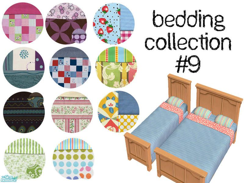 A fun mix of patterns that allow everyone in your family to have new bedding. Enjoy!  Found in TSR Category 'Sims 2 Sets'