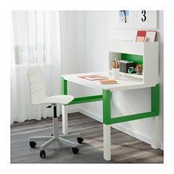 """PÅHL Desk with add-on unit, white, green - 37 3/4x22 7/8 """" - IKEA PINK & BLUE, TOO"""