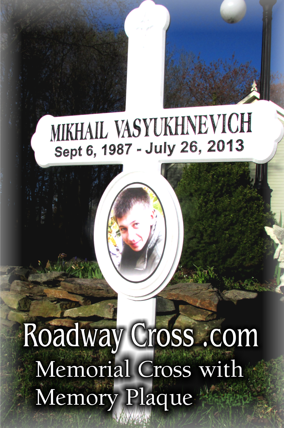roadside memorial cross with memory plaque made of high quality pvc with engraved letters this. Black Bedroom Furniture Sets. Home Design Ideas