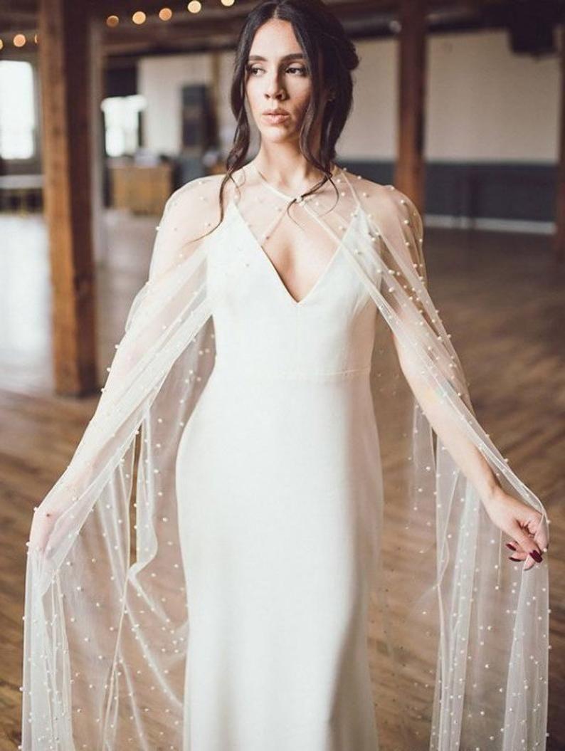 Pearl Bridal Cape Wedding Cape Pearl Veil Cape Bridal Cover Up Etsy Bridal Cape Cape Wedding Dress Wedding Cape