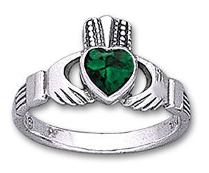 Claddagh ring with embedded stone. A great looking claddagh ring. Love, Loyalty and Friendship. $29.95