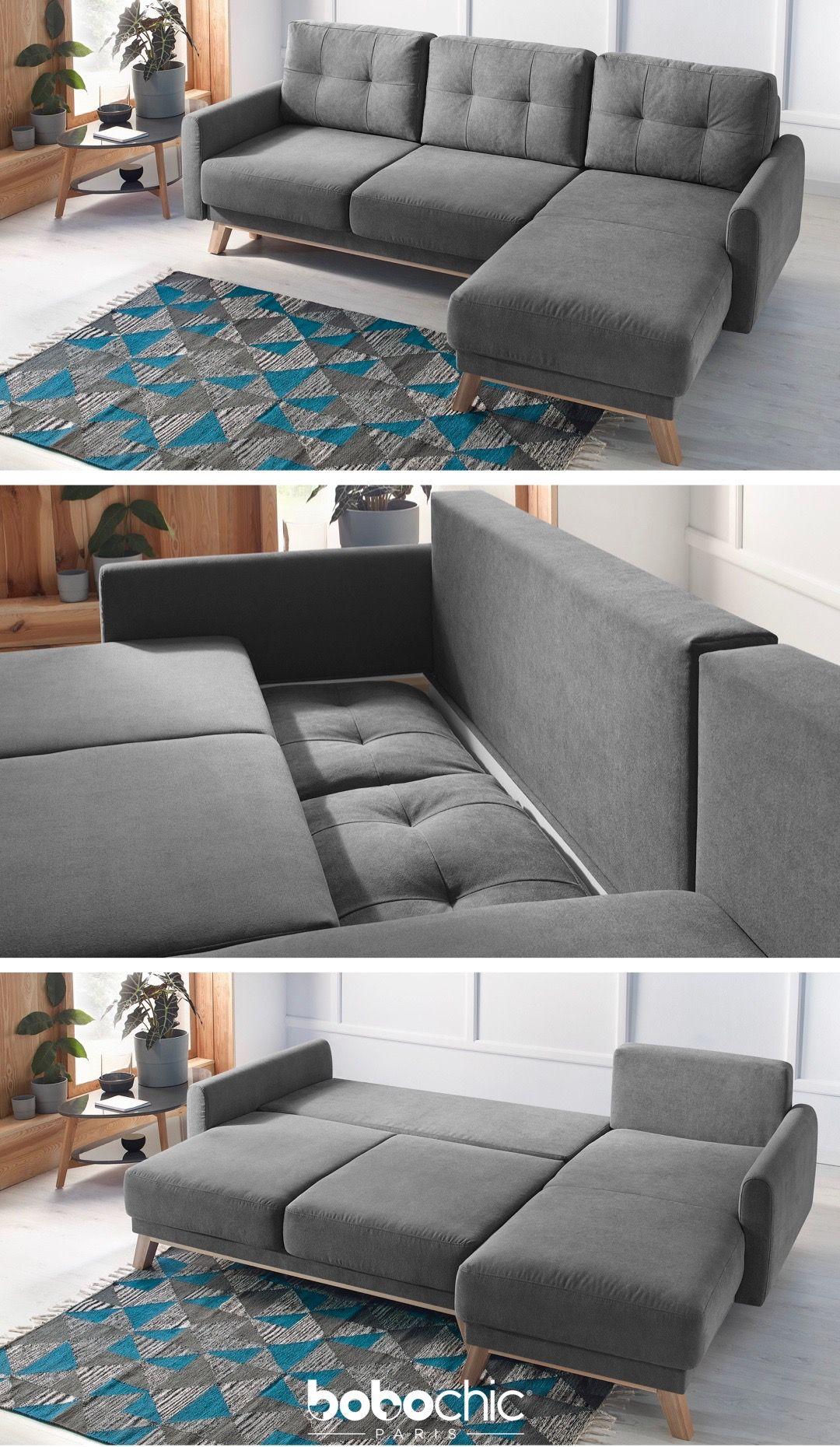Tapis Et Canapé D Angle balio canapé d'angle convertible avec coffre gris bobochic