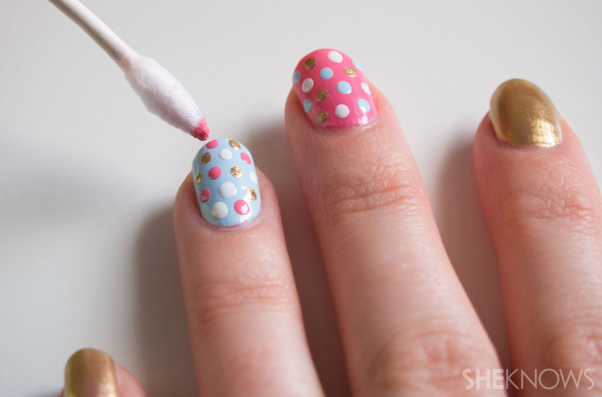 Q-tips™ cotton swabs make this nail design simple   Dot nail art tutorial,  Simple nail designs, Nail designs