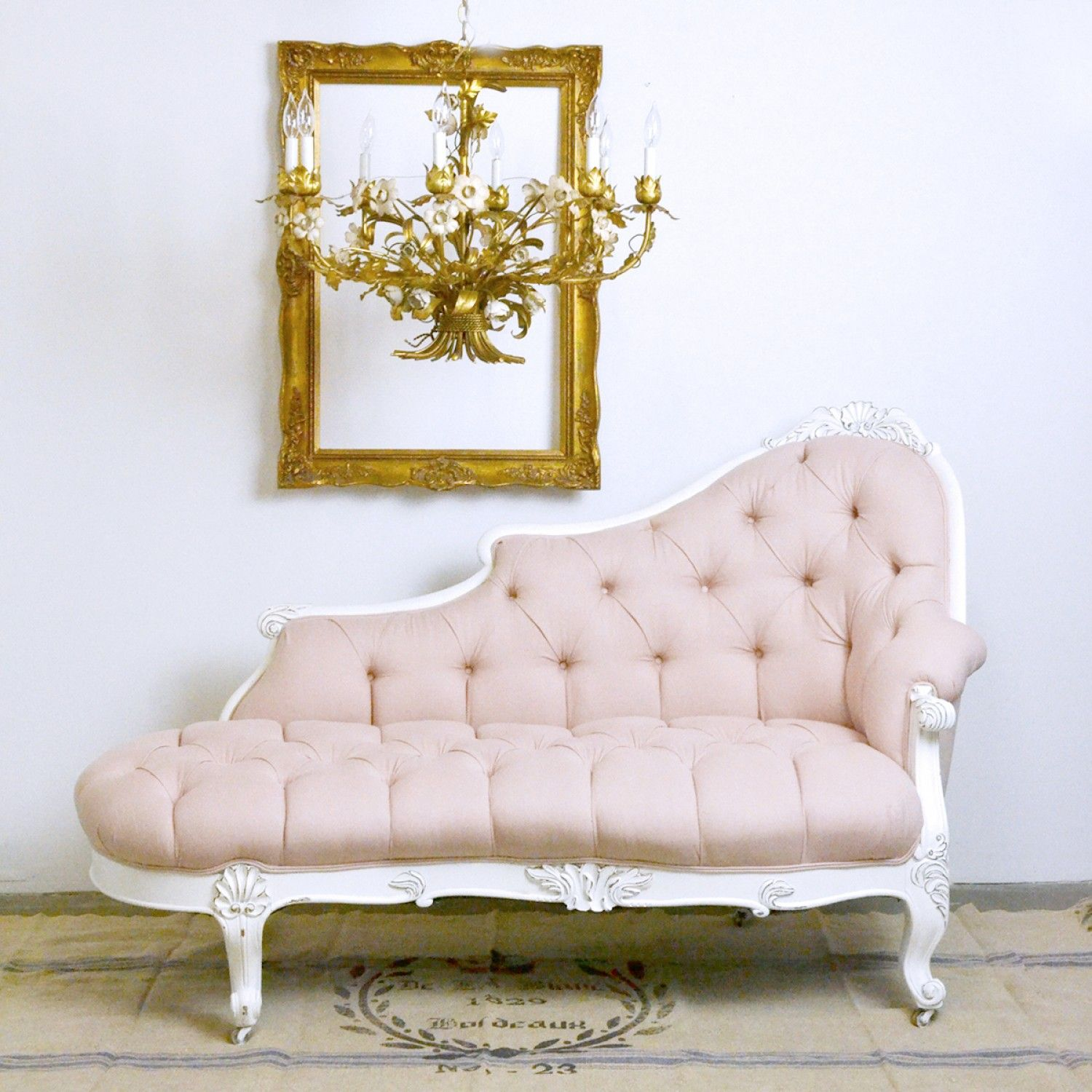 50 Cool And Creative Shabby Chic Dining Rooms: Tufted Pink Chaise Lounge $1195.00 #thebellacottage