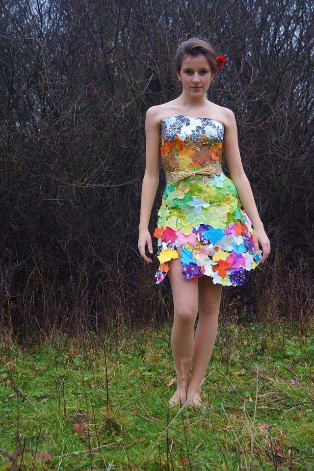 #leafdress made from a paper mâché bodice. I decorated the whole thing in different patterns and colours of paper and used a template to cut out a maple leaf shape from the paper. It was made in my 10 hour exam.