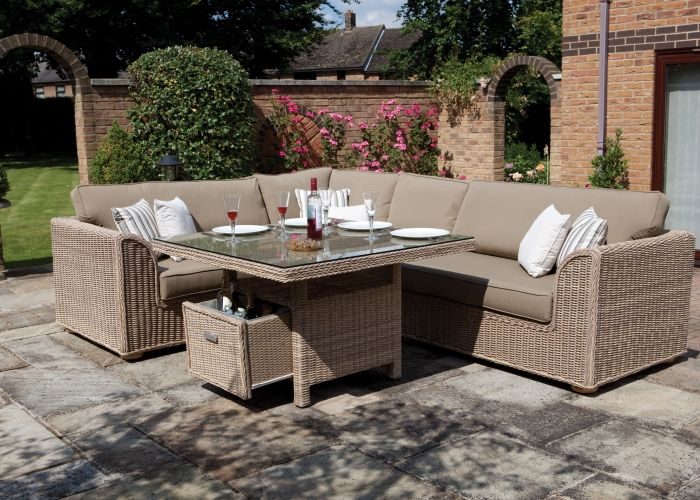 Outdoor Furniture - Hamilton Dining Set - Consisting of Hamilton Left and  Right Arm Sofas and Dining Table . Fabric Shown: Durban Beige. - Outdoor Furniture - Hamilton Dining Set - Consisting Of Hamilton