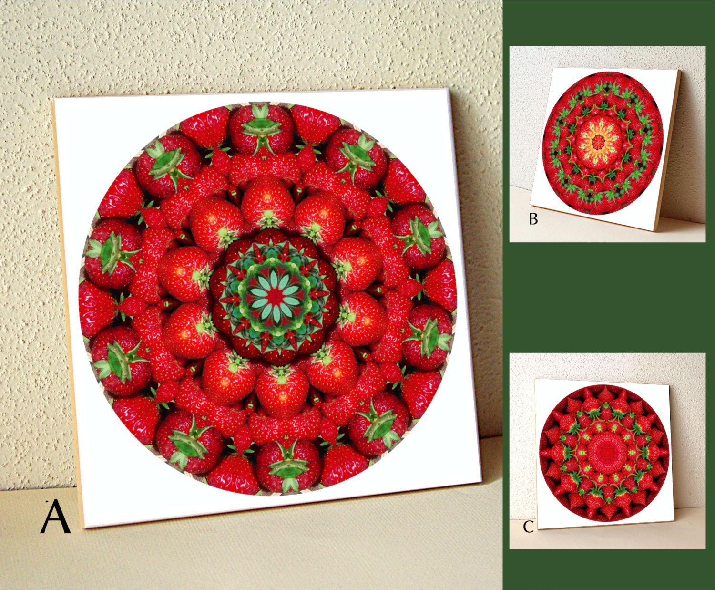 Ceramic tile strawberry mandala tile trivet red green fruit ceramic tile strawberry mandala tile trivet red green fruit wall art mothers day gift for gardener chef cook decorated tile dailygadgetfo Images