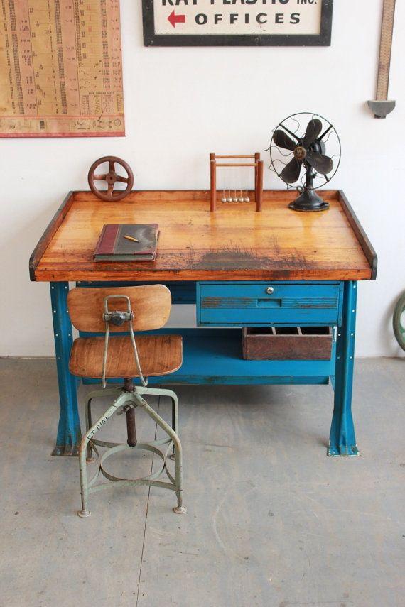 Vintage Industrial Hallowell Workbench/ Retail Counter/ Computer Desk/ Table - 1940s #vintageindustrialfurniture