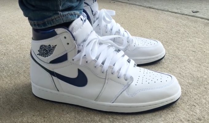 b63cc80179a5 An On-Feet Look At The Air Jordan 1 Retro High OG Metallic Navy ...