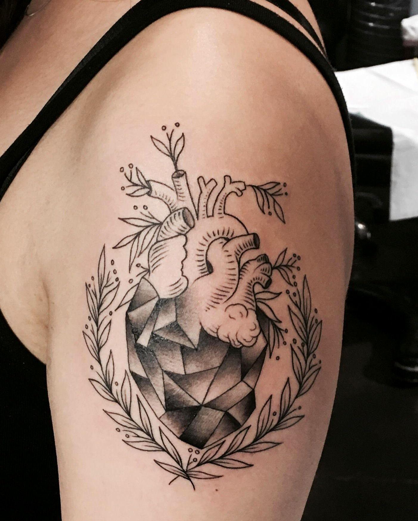 Geometric heart tattoo artist kass at adrenaline in