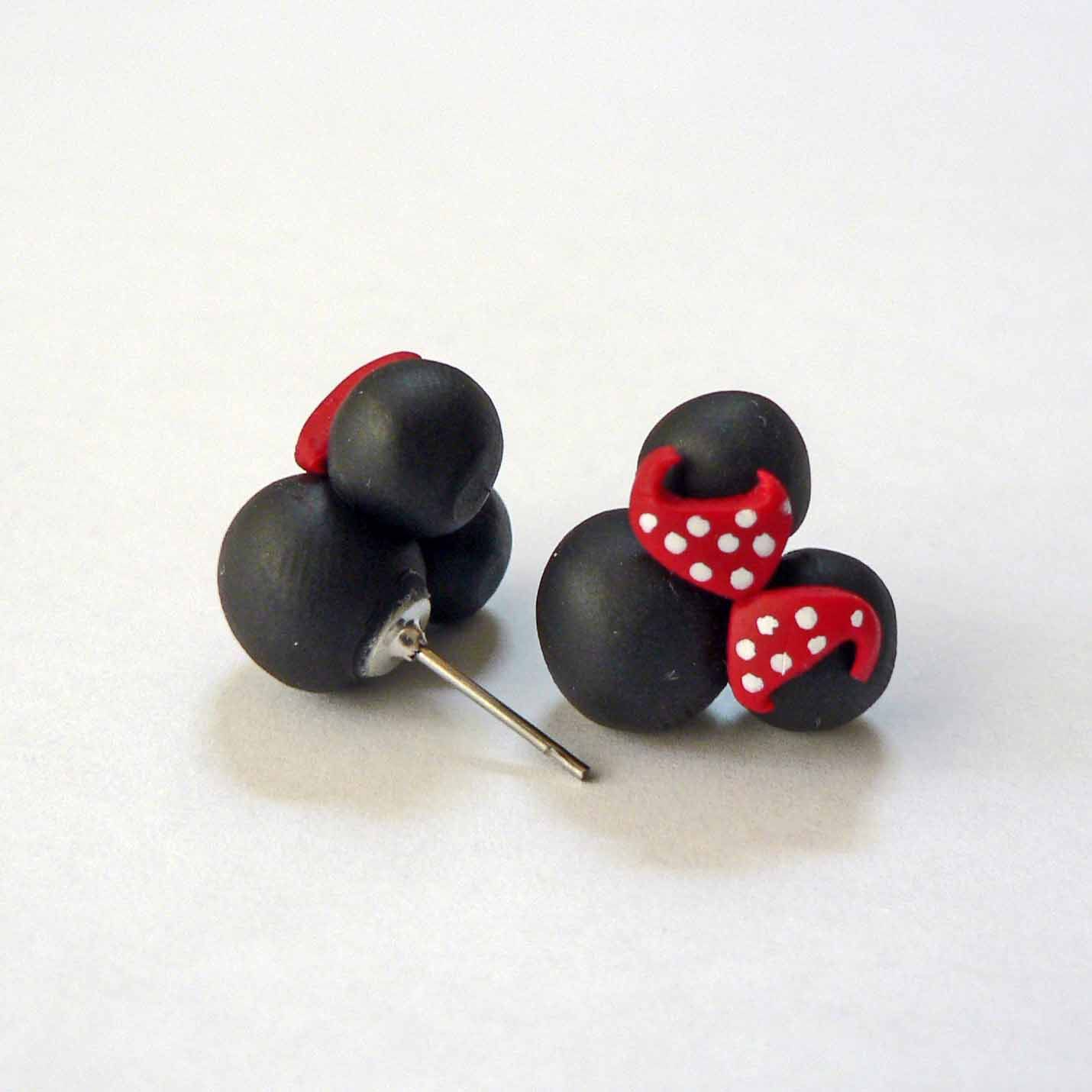 Minnie Red Polkadot Bow Earrings Disney Surgical New
