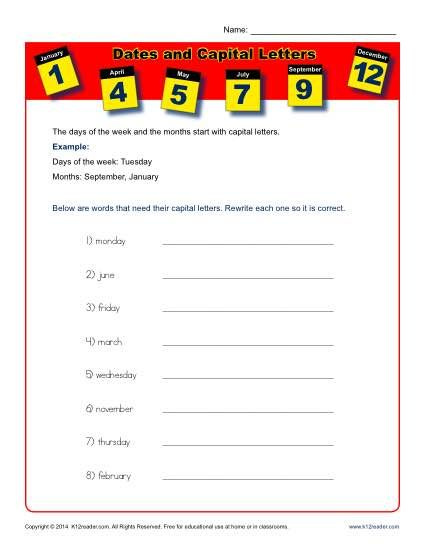 dates and capital letters worksheet activity k12 capital letters worksheet letter. Black Bedroom Furniture Sets. Home Design Ideas
