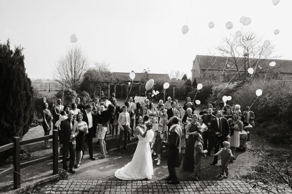 Ballon Release Unusual Group Photo Reportage Wedding Photographer Storytelling Photography Morley Hayes Derby Simondewey