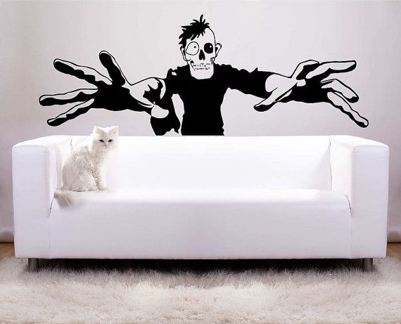 Huge Zombie Halloween Decoration Vinyl Wall Decal Photo Backdrop - zombie halloween decorations
