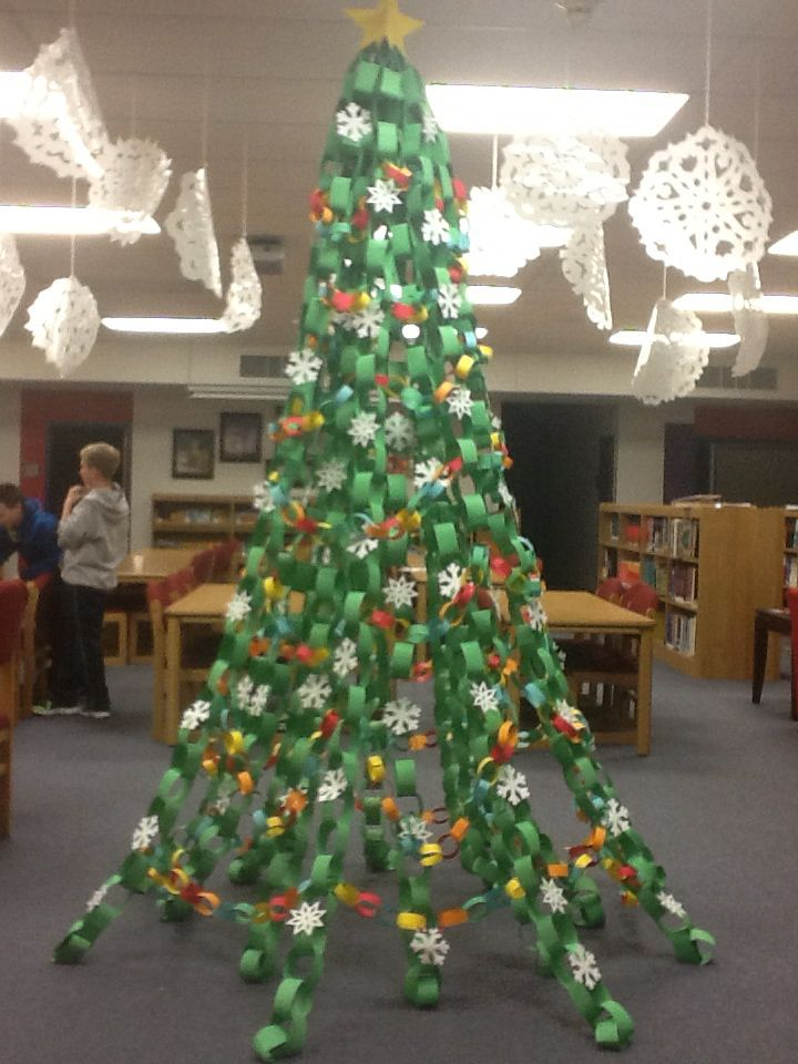 Paper Chain Christmas Tree Hung By Paper Lip At The Top Stapled To The Carpet At The Floor Christmas Classroom Office Christmas Decorations Christmas Diy